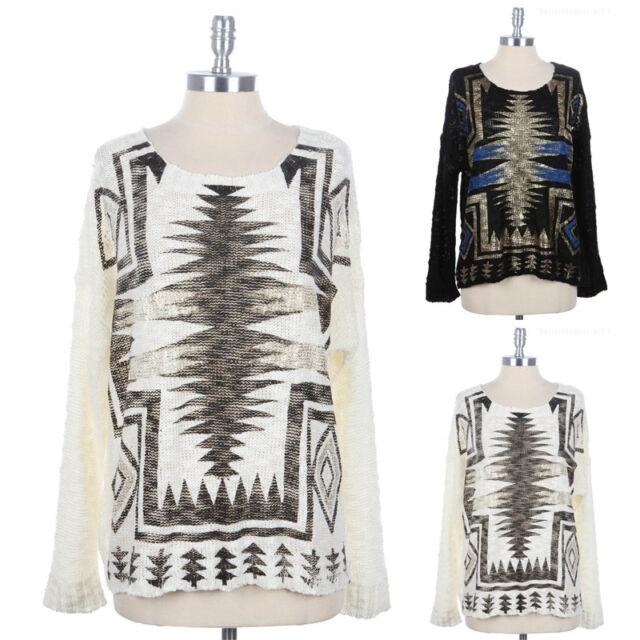 Womens Aztec Print High Low Hem Round Neck Knit Sweater Long Sleeve S M L