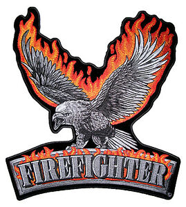 Large Flaming Eagle Firefighter Fireman Patriotic Embroidered Biker Patch