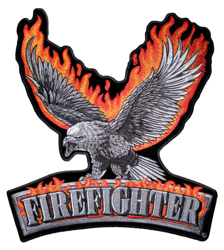Medium Flaming Eagle Firefighter Fireman Patriotic Embroidered Biker Patch