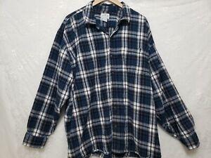 Blue Mountain Men's 4X BLUE Plaid Flannel Shirt Long Sleeve Pocket Button Up Cot