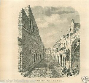Street-of-the-Knights-Rue-des-Chevaliers-a-Rhodes-Greece-GRAVURE-OLD-PRINT-1857