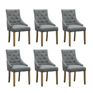 Set Of 6 Grey Dining Chairs Accent Chairs Armchair Button Tufted Fabric Padded 738596628024 Ebay