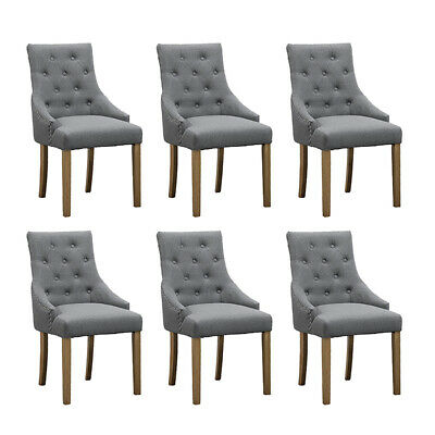 Set Of 6 Grey Dining Chairs Accent, Grey Fabric Dining Chairs With Arms