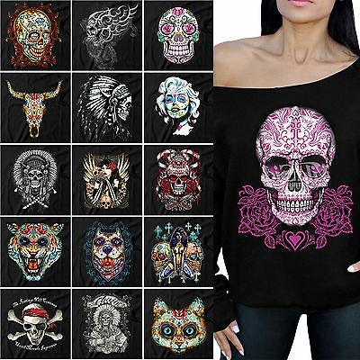 Sugar Skull Red Roses Off the shoulder oversized slouchy sweater sweatshirt