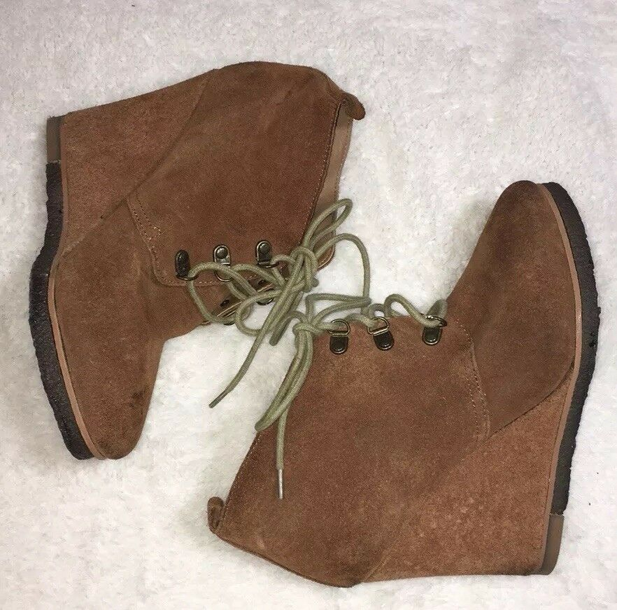 STEVE MADDEN Chestnut Suede Leather TANNGOO Lace Up Wedge Ankle Boots Sz 7.5