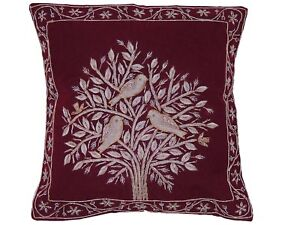 Astounding Details About Burgundy Tree Of Life Dabka Embroidery Pillow Cover Couch Sofa Throw Cushion 16 Ibusinesslaw Wood Chair Design Ideas Ibusinesslaworg
