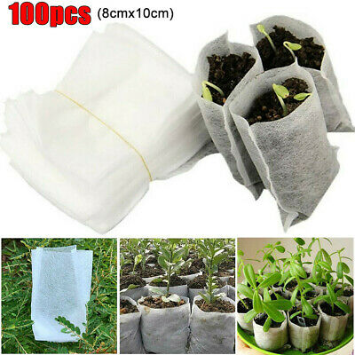 100Pcs Biodegradable Nonwoven Fabric Nursery Plant Grow Bags Seedling Growing
