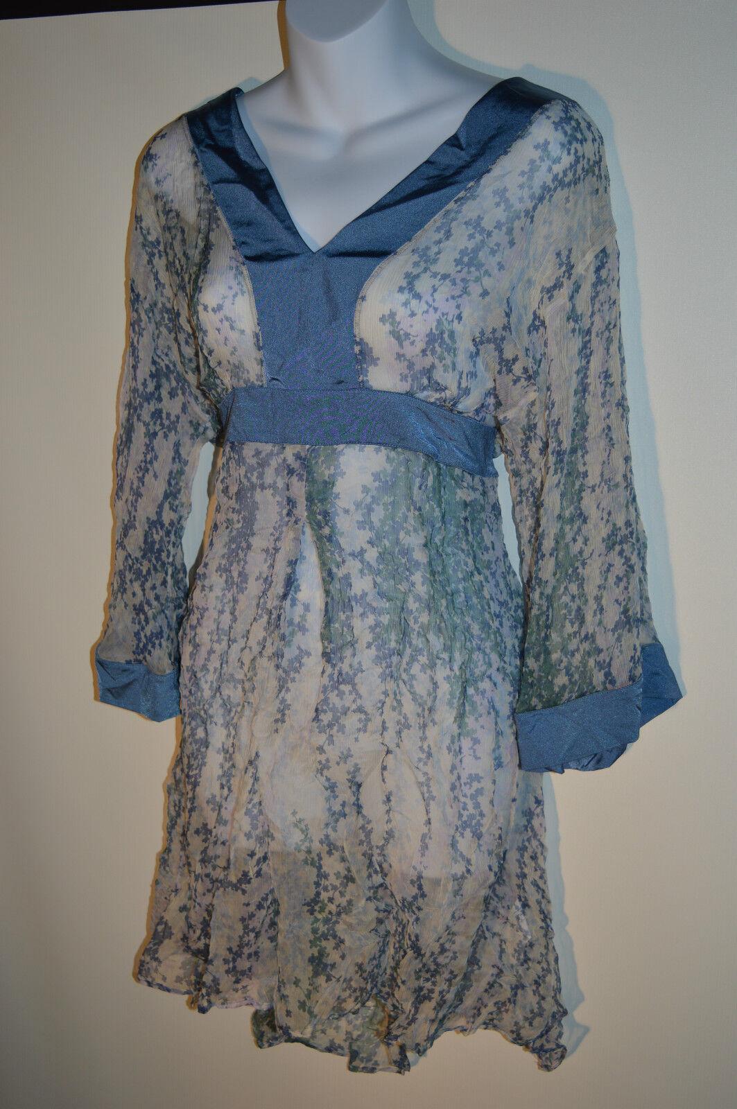 Verdissima 100% Silk Kaftan Print Nightdress   Robe in Large SS82 bluee RRP
