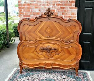 French-Antique-Carved-Walnut-Louis-XV-Queenl-Size-Bed-Bedroom-Furniture