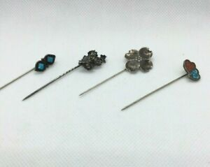 Vintage-Sterling-Silver-Hair-Pins-Lot-Of-4-Turquoise-Inlay-Stone-Wrought-Flower