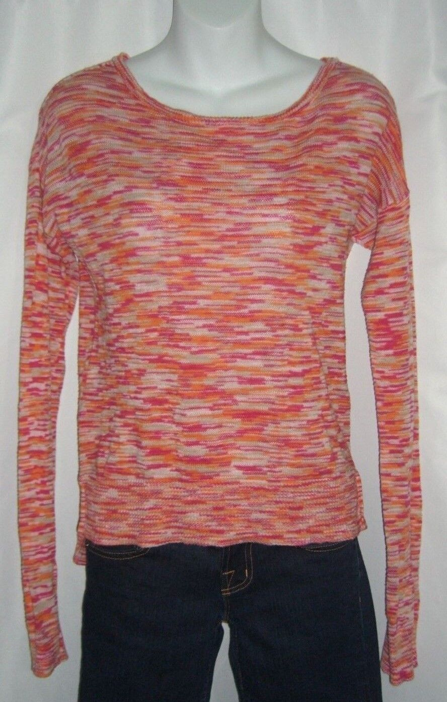 5b2a0c7c C & C California Sweater Striped orange Pink Beach Boho Bohemian Cotton  Boxy S