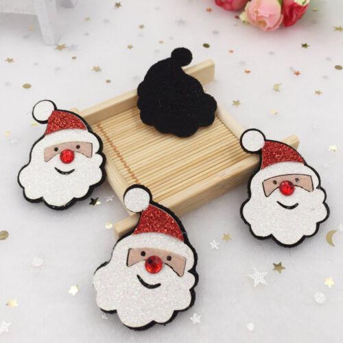 New 10pcs Felt Fabric Paillette Santa Claus Appliques wedding DIY patches sewing
