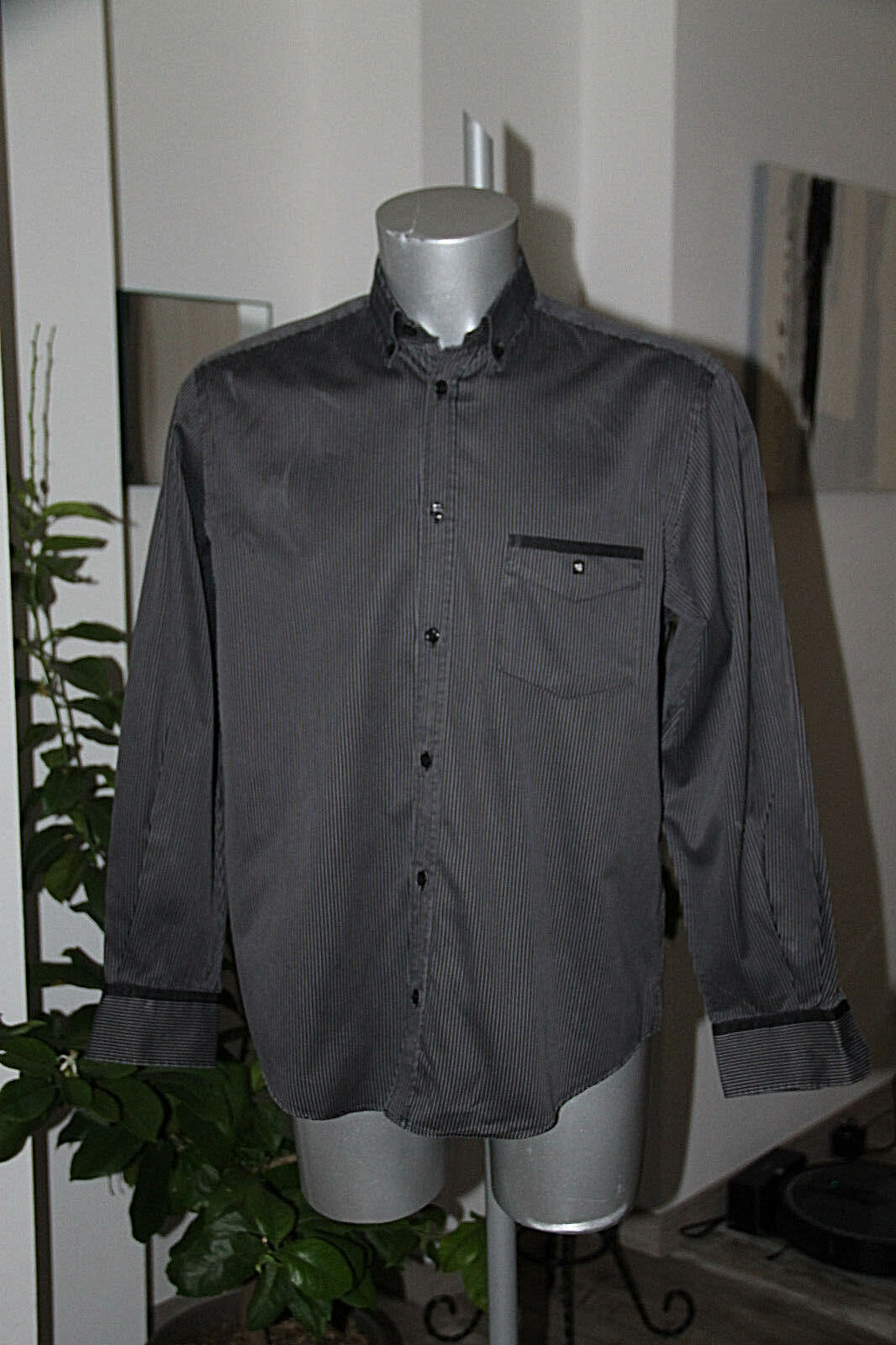 Pretty Shirt Striped Anthracite Serge whiteo Size L in Excellent Condition