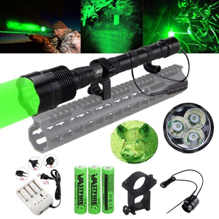 Tactical 500 Yard 3x Q5 Green LED Predator Coyote Gear Hog Hunting Night Light