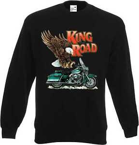 Sweatshirt-in-schwarz-HD-Biker-Chopper-amp-Old-Schoolmotiv-Modell-Road-King