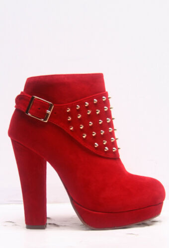 Women/'s Zipper Fashion Chunky High Heel Platform Studded Ankle Bootie Shoes NEW
