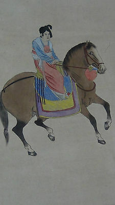 "ANTIQUE EARLY 20C CHINESE WATERCOLOR ON PAPER SCROLL PAINTING ""WOMAN ON HORSE"""