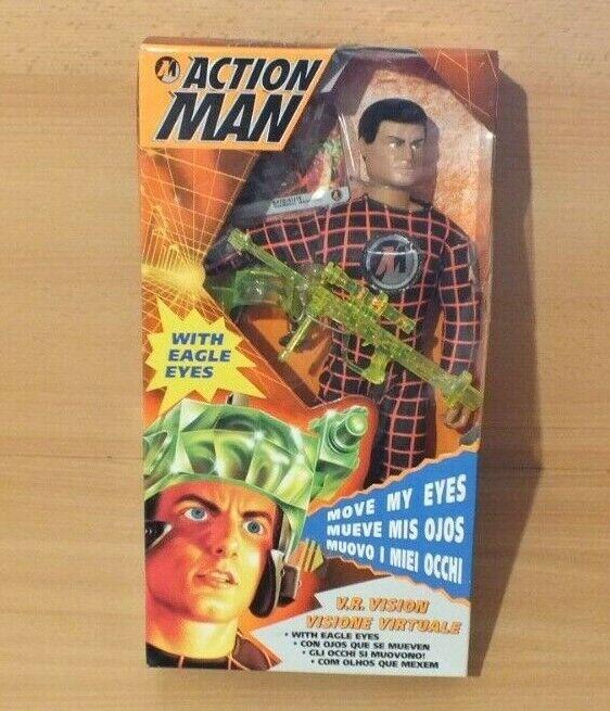 azione uomo 1996 V.r realtà virtuale VISION Eagle Eyes Hasbro scatola sciupato