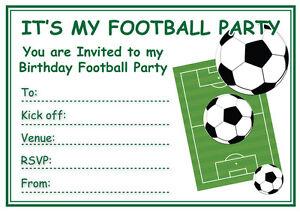 Football Birthday Party Invitations 10 20 Or 30 With Envelopes Ebay
