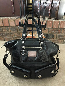 coach poppy spotlight large black patent leather handbag shoulder rh ebay com