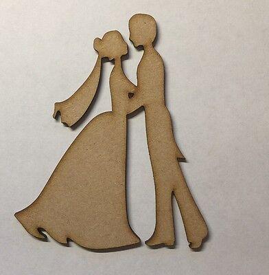 Forma In Legno Mdf Laser Cut Sposa Sposo Nozze Decorazione Craft In Bianco-mostra Il Titolo Originale