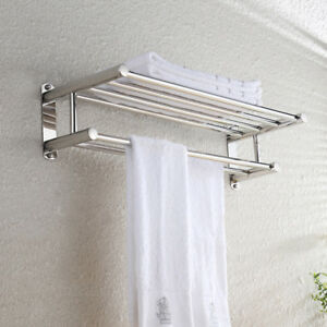 Double-Chrome-Towel-Rail-Holder-Wall-Mounted-Bathroom-Rack-Shelf-Stainless-Steel