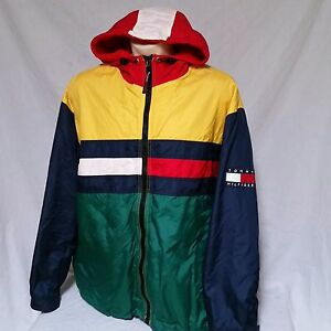 Vtg Tommy Hilfiger Jacket Colorblock Coat Sailing Hooded