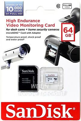 SanDisk MicroSD Card High Endurance 64GB Class10 Dash Cam Surveillance Security