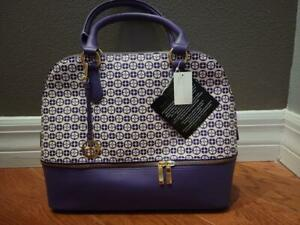 Iman Global Chic Logo Print Dome Satchel (PURPLE) with IVORY upper with logo