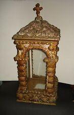 Antique ALTAR SHRINE CABINET Glass Display Case WORSHIP VITRINE Sea Shell GROTTO