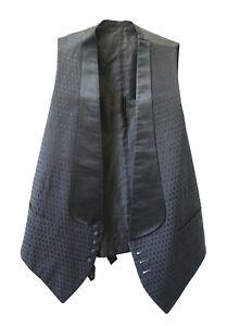 Vintage-Men-039-s-Formal-Vest-Black-Silk