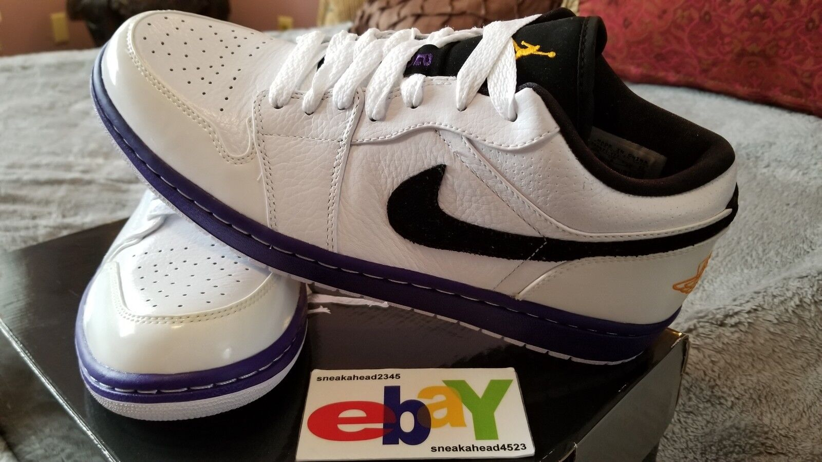 AIR JORDAN 1 PHAT PHAT PHAT RETRO LOW LAKERS 09 10 08 WHT TAXI-COURT viola-BLK 350571 171 5b58f4