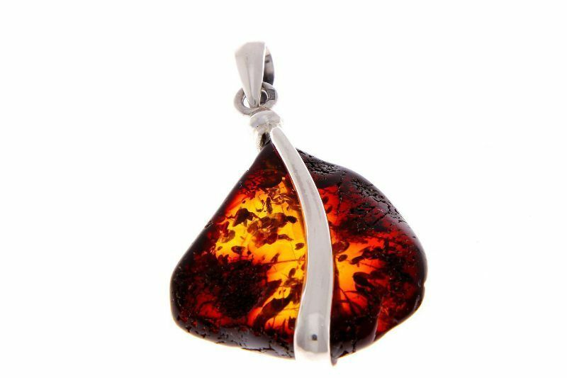 PD1530 925 Sterling Silver /& Baltic Amber Jewellery Unique Pendant