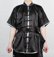 Wushu Kungfu Uniform Changquan Uniforms Taichi Kung Fu Chinese Black Silver Trim
