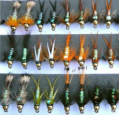 By Arc Fishing Flies UK 33js Trout Flies Gold head nymph buzzers # 8 to 18