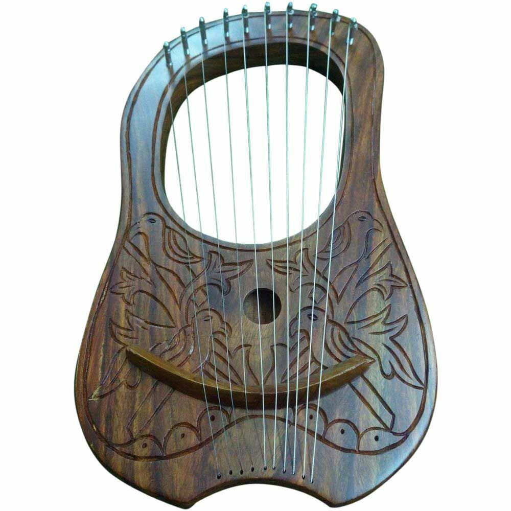 SL New Lyre Harp Rosawood 10 Strings Hand Engraved Lyra Harp Rosa Wood Harfe