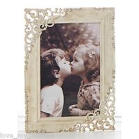 """Vintage Shabby Chic Old Cream Lace Metal Photo Picture Frame Wedding Gift 4x6"""""""