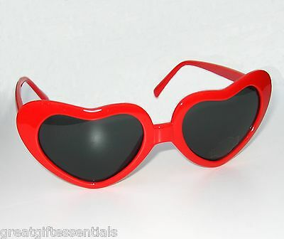 RED HEART SHAPED SUNGLASSES Lolita Queen of Hearts Smoke Sun Glasses Black NEW