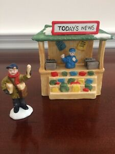 VINTAGE 1990's HAND PAINTED LEMAX? NEWS STAND AND NEWSBOY CMAS VILLAGE FIGURINES
