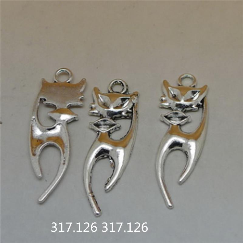 10X Tibetan Silver cat Charms Pendant Craft Findings Jewelry Wholesale GU1020