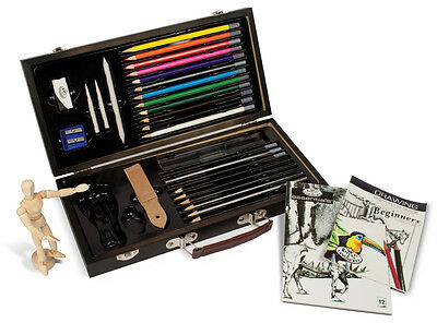 BEGINNERS ARTIST BOX SET SKETCHING PAD & DRAWING PENCILS MANNIKIN & GUIDE DS3000