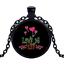 Vintage Love Is Patient Black Cabochon Glass Necklace chain Pendant