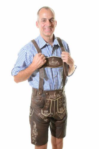 Bavarian Oktoberfest Lederhosen Lamb Leather Tracht Short German Costume #BERLIN