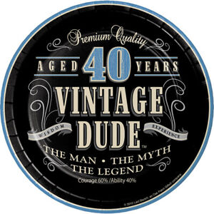 8-x-Vintage-Dude-40th-7-034-Plates-Mens-Birthday-Tableware-Supplies-Adult-Party-40