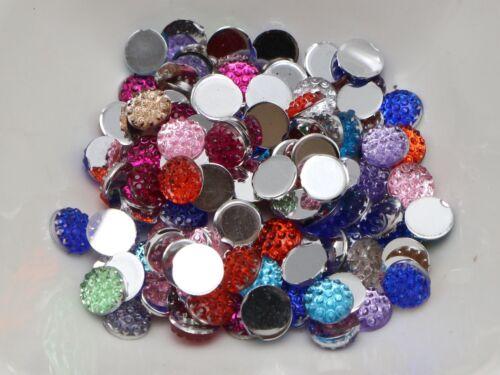 500 Mixed Color Acrylic Round Flatback Dotted Rhinestone Gem beads 6mm