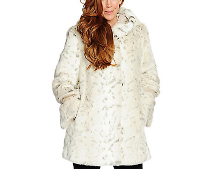 Pamela McCoy Hooded Natural Lynx Faux Fur Mid Length Coat XS or Small NEW