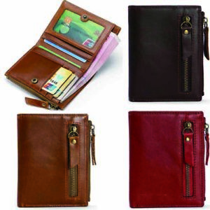 New-Mens-Leather-Bifold-Wallet-RFID-Blocking-Short-Purse-Zip-Coin-Pocket-3-Color