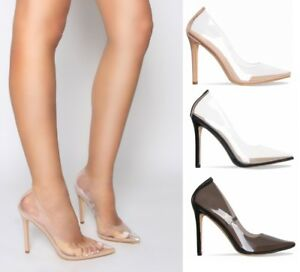 Image is loading Ladies-Womens-Perspex-Clear-Court-Shoes-Stiletto-High-