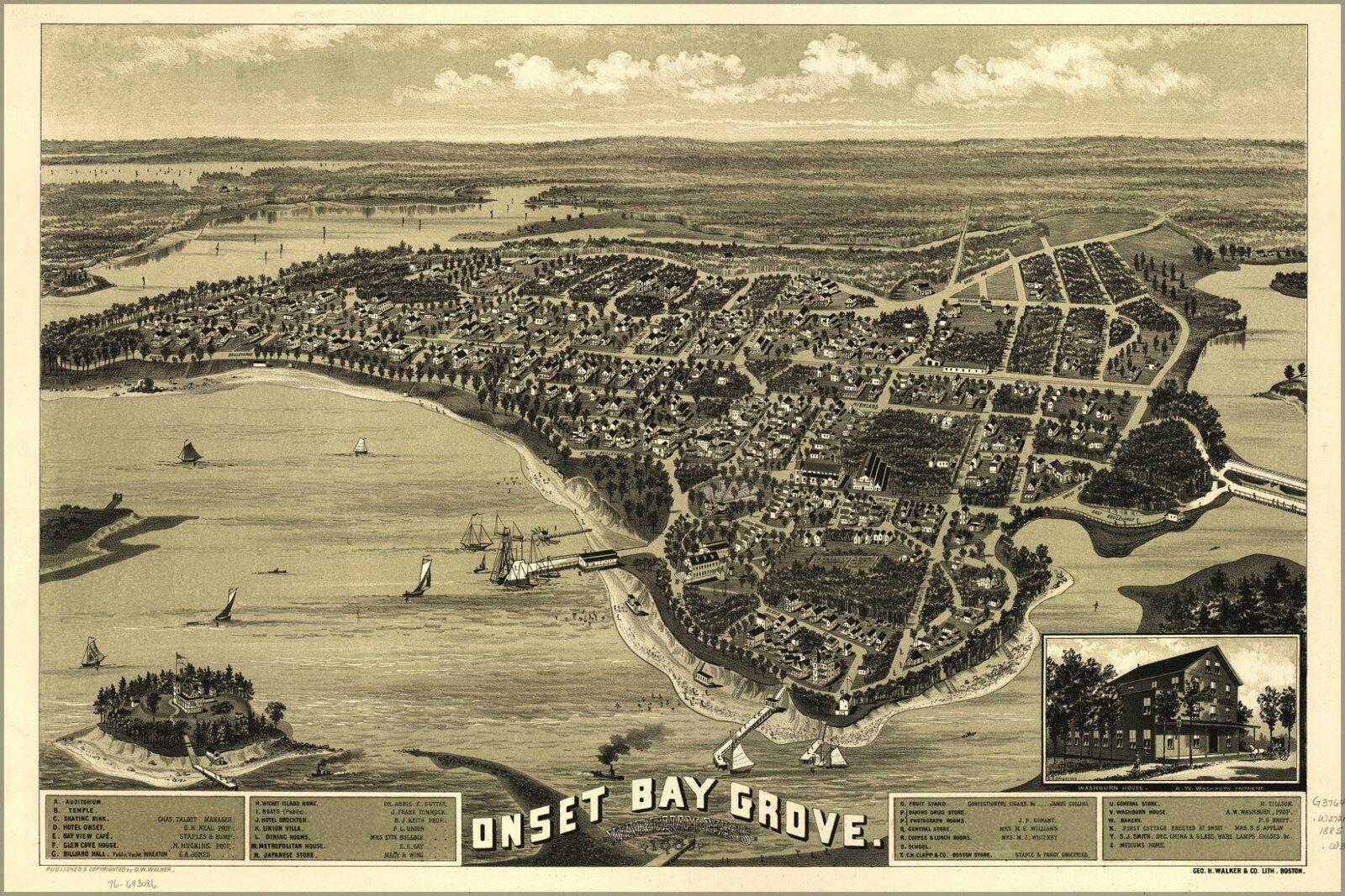 Plakat, Viele Größen; Karte von Beginn Bay Grove, Massachusetts L885