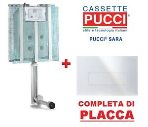 CASSETTA SCARICO AD INCASSO PUCCI SARA 1 pulsante scarico wc CON ...